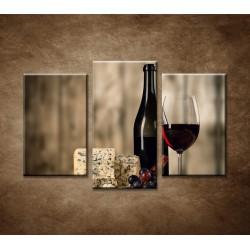 Obrazy na stenu - Víno a syr - 3dielny 75x50cm