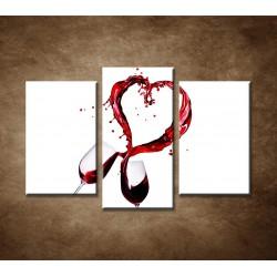 Obrazy na stenu - Poháre červeného vína - 3dielny 75x50cm