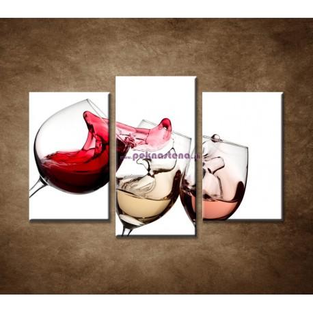 Obrazy na stenu - Tri druhy vína - 3dielny 75x50cm