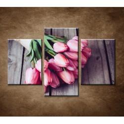 Obrazy na stenu - Jarné tulipány - 3dielny 90x60cm