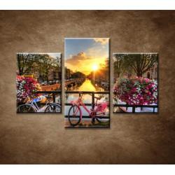 Obrazy na stenu - Východ slnka v Amsterdame - 3dielny 90x60cm