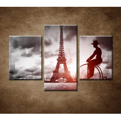Obrazy na stenu - Muž na bicykli - 3dielny 90x60cm