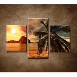Obrazy na stenu - Západ slnka na pobreží - 3dielny 90x60cm