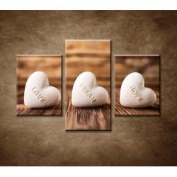 Obrazy na stenu - Srdcia z kameňa - 3dielny 90x60cm