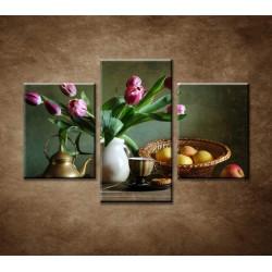 Obrazy na stenu - Zátišie s tulipánmi a jablkami - 3dielny 90x60cm