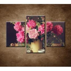 Obrazy na stenu - Zátišie s pivonkami - 3dielny 90x60cm