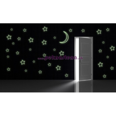 Nálepka na stenu - Svietiace obrysy hviezd a mesiaca