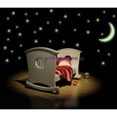 Nálepka na stenu - Svietiace hviezdy s mesiacom