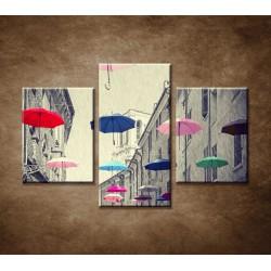 Obrazy na stenu - Farebné dáždniky - 3dielny 90x60cm