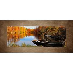 Obraz - Švédske jesenné jazero - panoráma