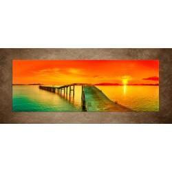 Obraz - Západ slnka nad mólom - panoráma