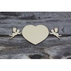 Drevený výrez - Srdce s anjelmi