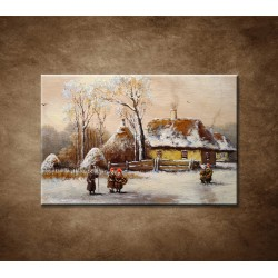 Obrazy na stenu - Maľba - Zimná dedina