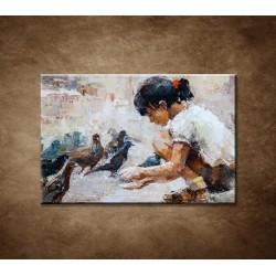 Obrazy na stenu - Dievčatko a holuby