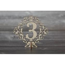 Drevený výrez - Číslo s podstavcom - 3