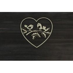 Drevený výrez - Srdce s vtáčikmi