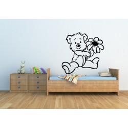 Nálepka na stenu - Medvedík s kvetom