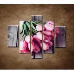 Obrazy na stenu - Jarné tulipány - 5dielny 100x80cm