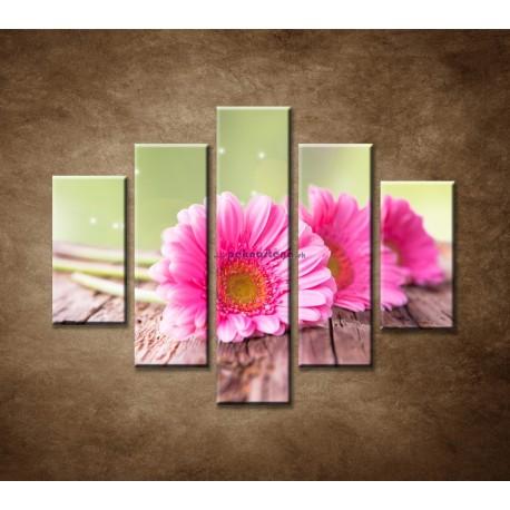 Obrazy na stenu - Tri ružové gerbery - 5dielny 100x80cm