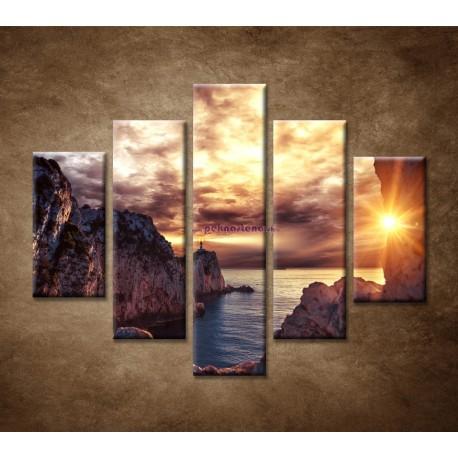 Obrazy na stenu - Maják na skale - 5dielny 100x80cm