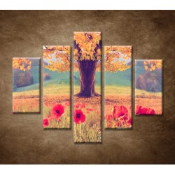 Obrazy na stenu - Jesenný strom - 5dielny 100x80cm