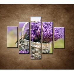 Obrazy na stenu - Košík s levanduľou  - 5dielny 100x80cm