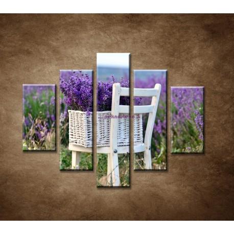 Obrazy na stenu - Levanduľa na stoličke - 5dielny 100x80cm