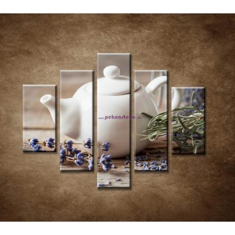 Obrazy na stenu - Levanduľový čaj - 5dielny 100x80cm
