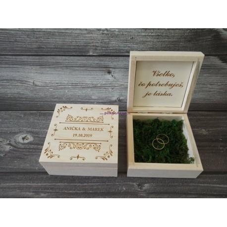 Drevená krabička na snubné prstene