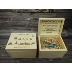 Drevená krabička na peniaze - vianočná