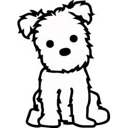 Nálepka na auto - Maltézky psík- výška 10cm