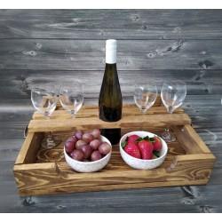 Drevený  podnos na víno - veľký