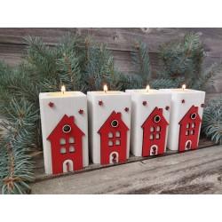 Adventný svietnik  - domček s číslami