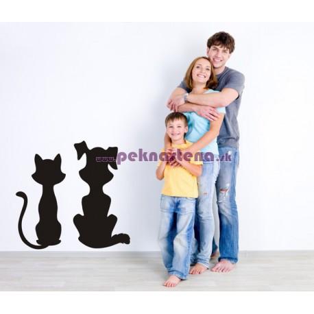Nálepka na stenu - Mačka a pes