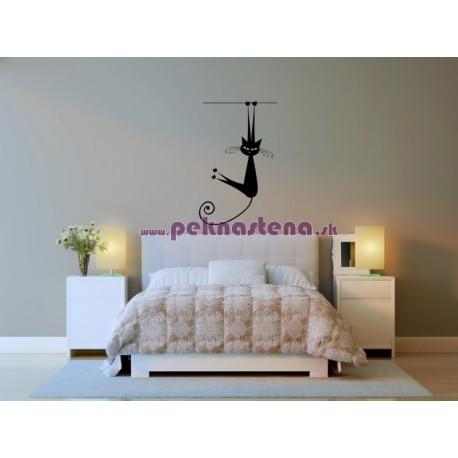 Nálepka na stenu - Cvičiaca mačka