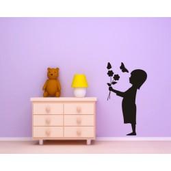 Nálepka na stenu - Dievčatko s kvetmi