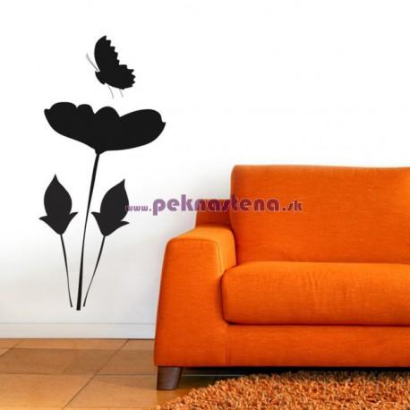 Nálepka na stenu - Kvet s motýľom