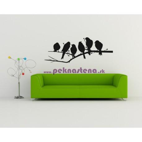 Nálepka na stenu - Vtáci na konári