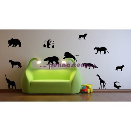 Nálepka na stenu - Zvieratká - 12 kusov