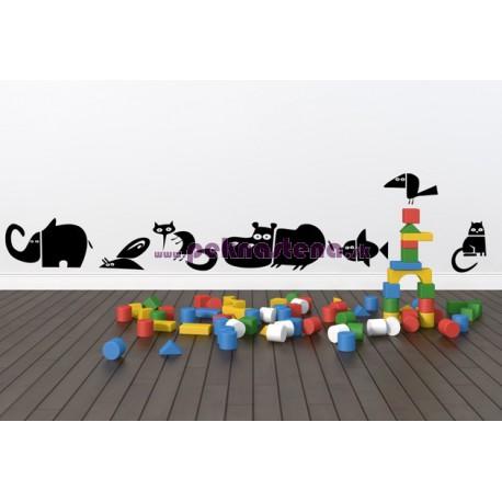 Nálepka na stenu - Zvieratká - 7 kusov