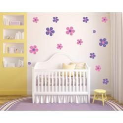 Nálepky na stenu - Veselé kvety - dvojfarebné - set 42 kusov
