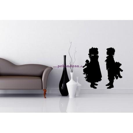 Nálepka na stenu - Chlapček a dievčatko 2