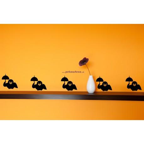 Nálepka na stenu - Vrabčeky s dážďnikom