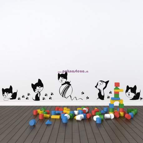 Nálepka na stenu - Mačiatka - 5 kusov