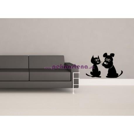 Nálepka na stenu - Mačka a pes 2