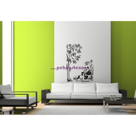 Nálepka na stenu - Pandy pod bambusom
