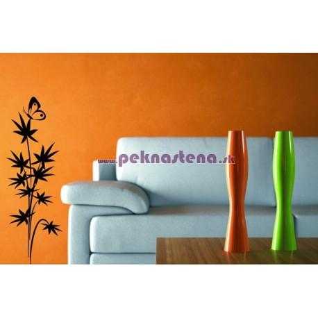 Nálepka na stenu - Bambus s motýľom