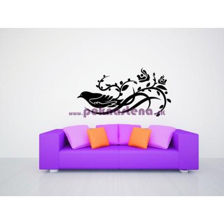 Nálepka na stenu - Vták na kvete