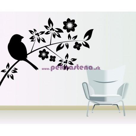 Nálepka na stenu - Vták na kvete 2