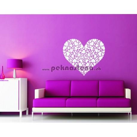 Nálepka na stenu - Srdiečkové srdce
